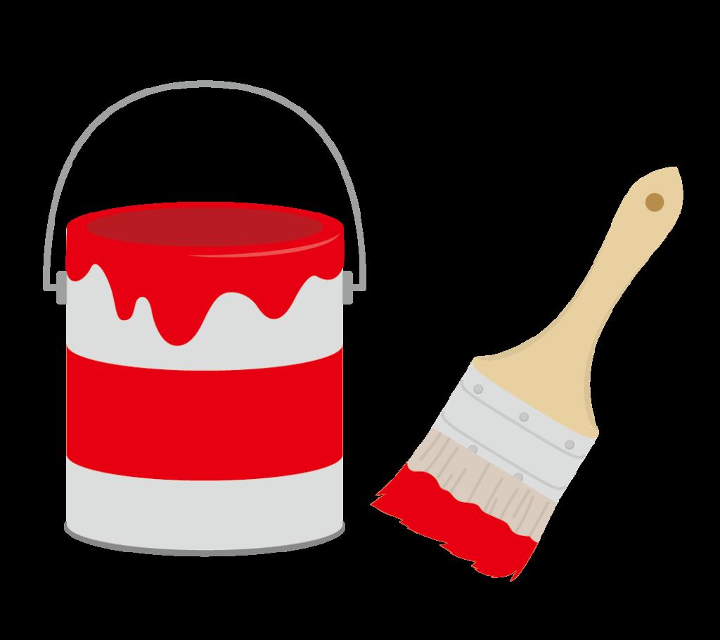 ペンキと刷毛(赤)のイラスト