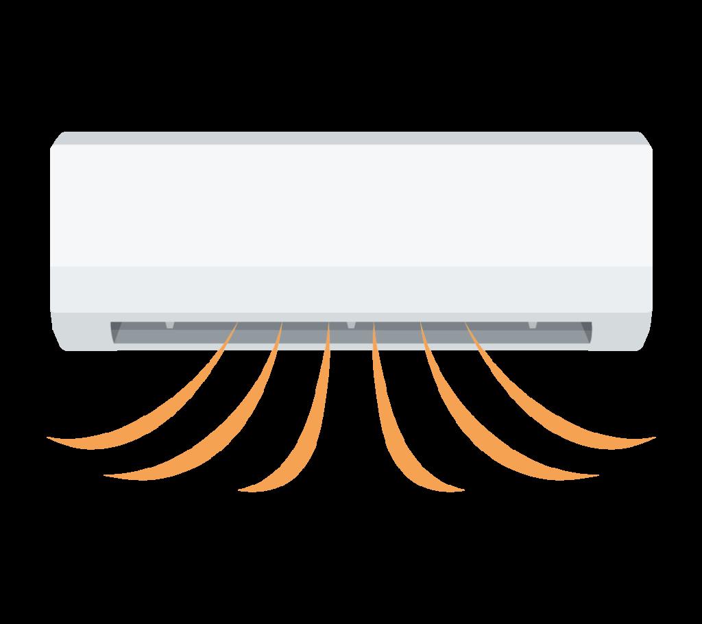 暖房運転中のエアコンのイラスト