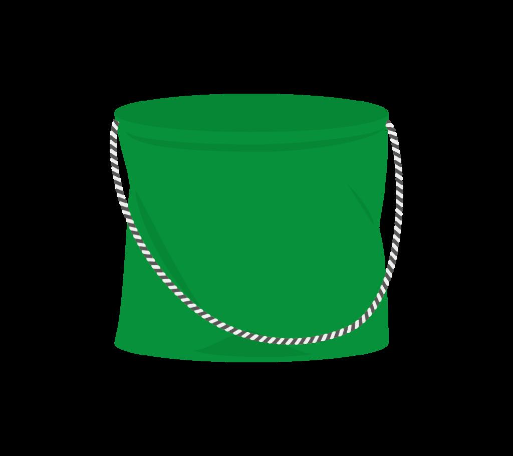 釣り用のバケツ(緑色)のイラスト