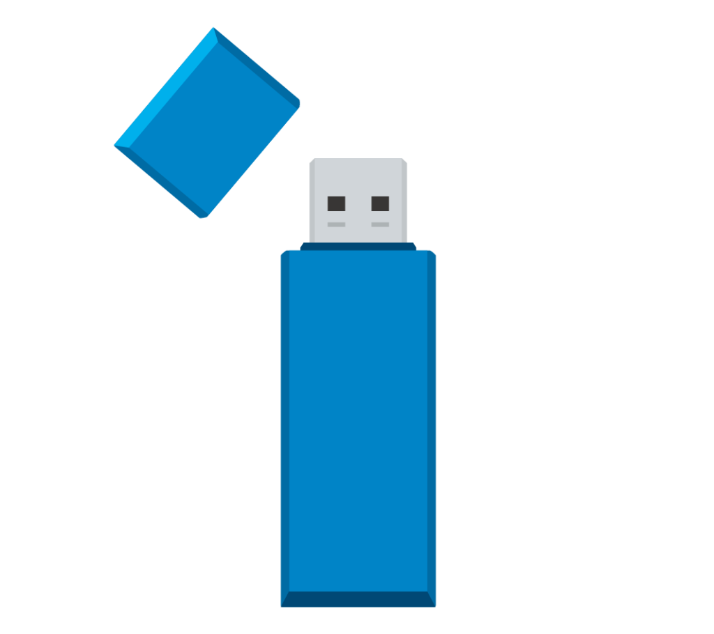 青色のUSBメモリのイラスト
