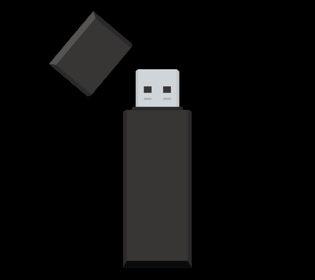 黒いUSBメモリのイラスト