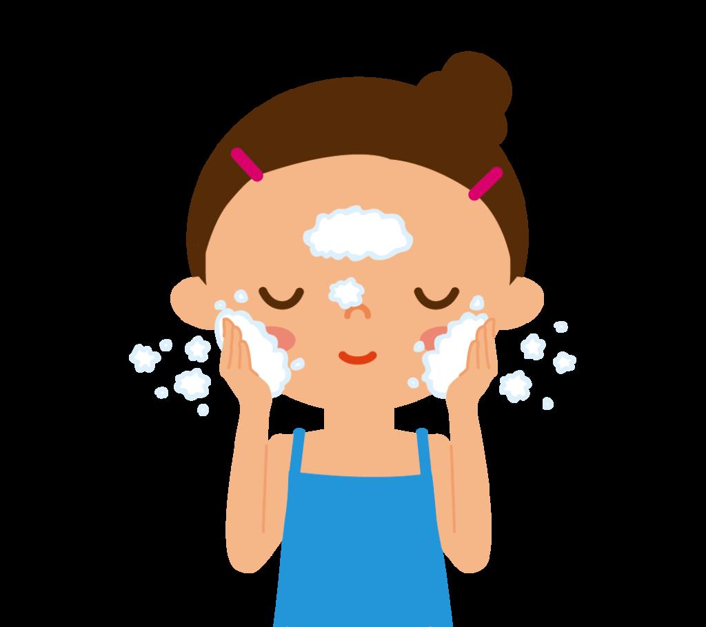 洗顔する女の人のイラスト