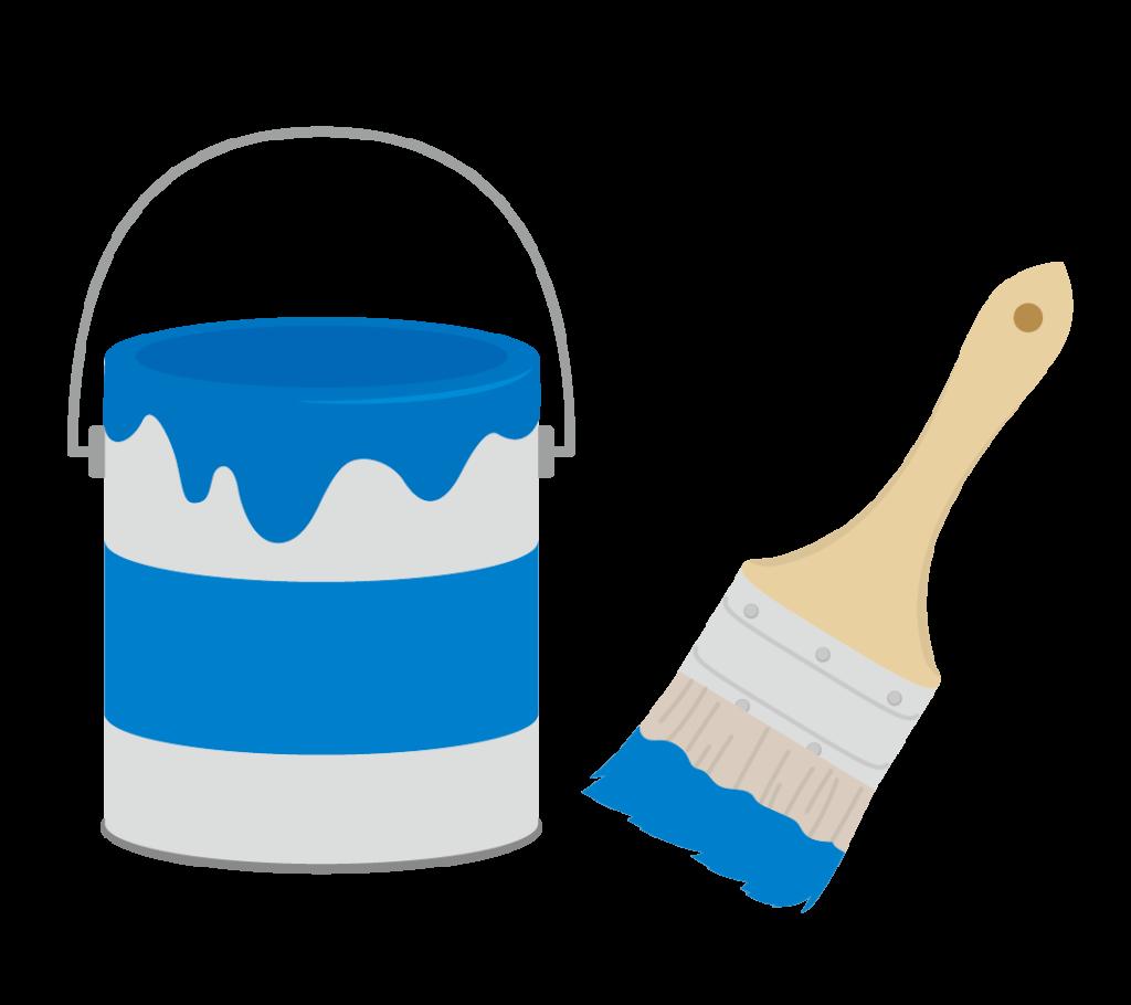 ペンキと刷毛(青)のイラスト
