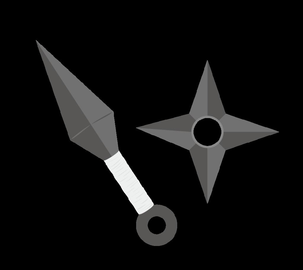 苦無と手裏剣のイラスト