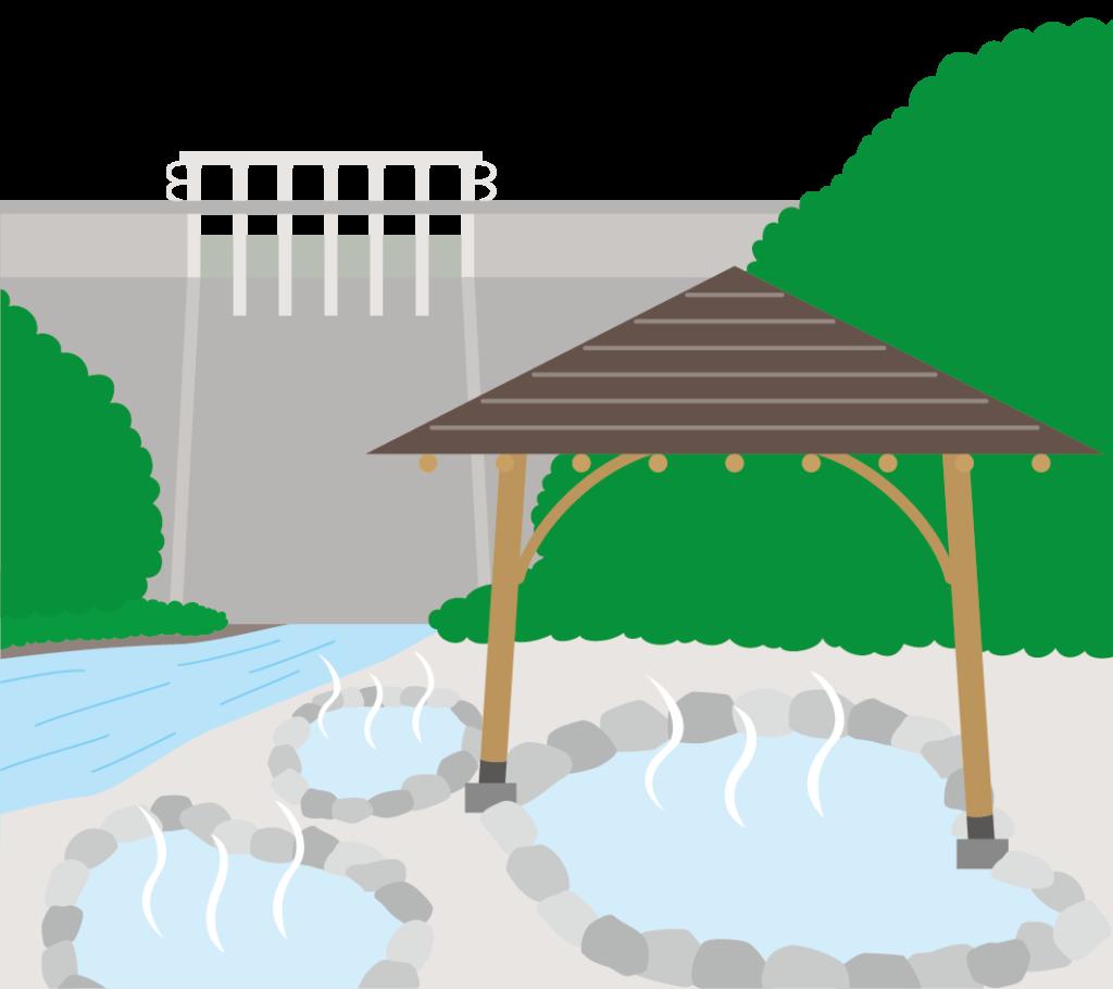 湯原温泉とダムのイラスト