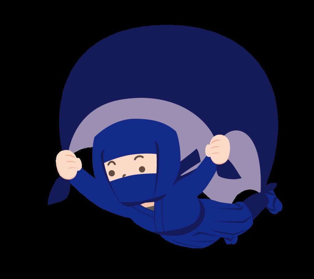 空を飛ぶ忍者のイラスト