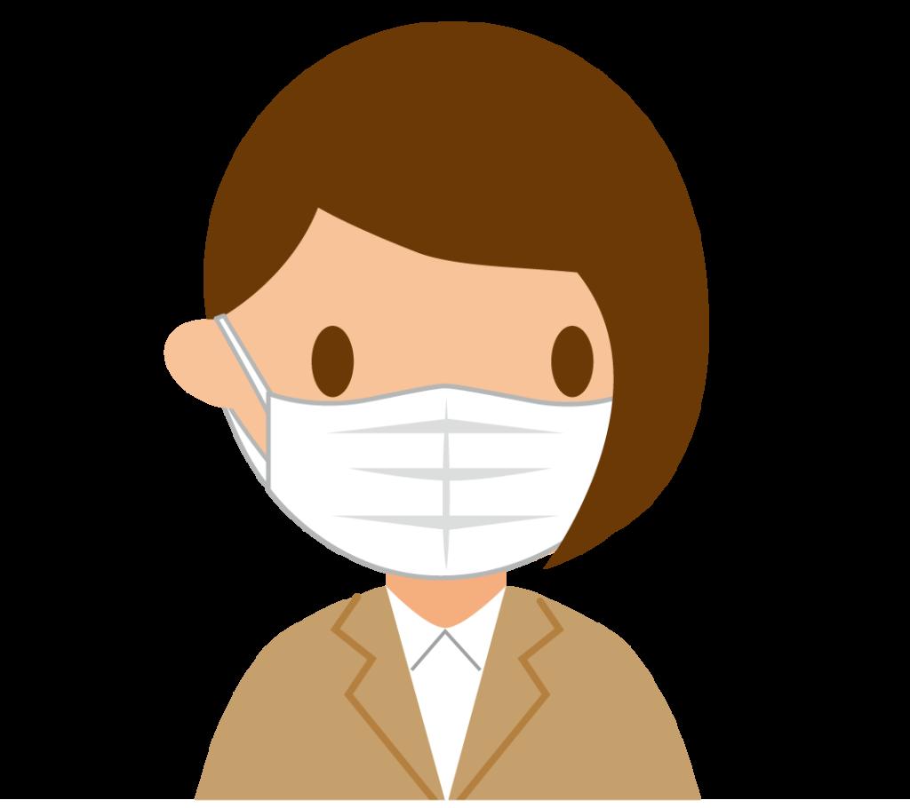 マスクする女性のイラスト