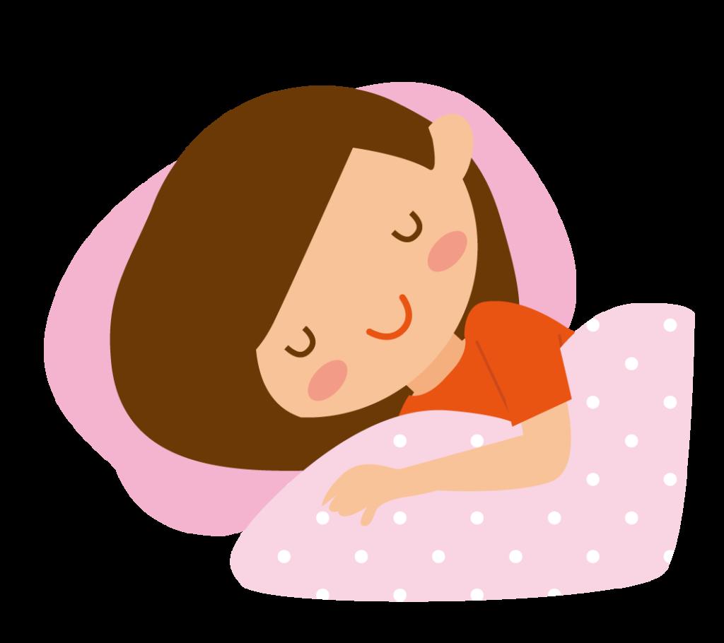睡眠をとる女の人のイラスト