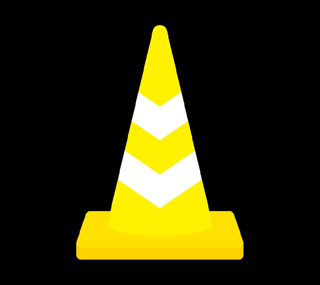 反射テープ付パイロン(黄)のイラスト