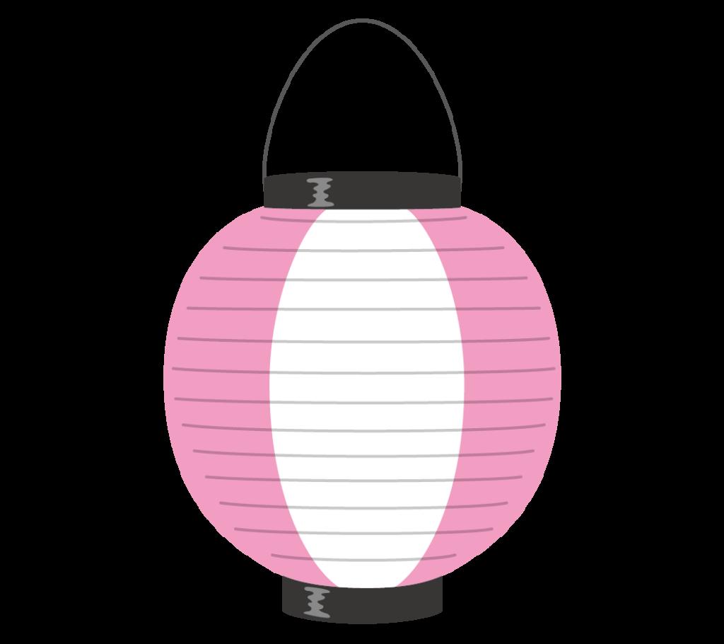 桃色と白の提灯のイラスト
