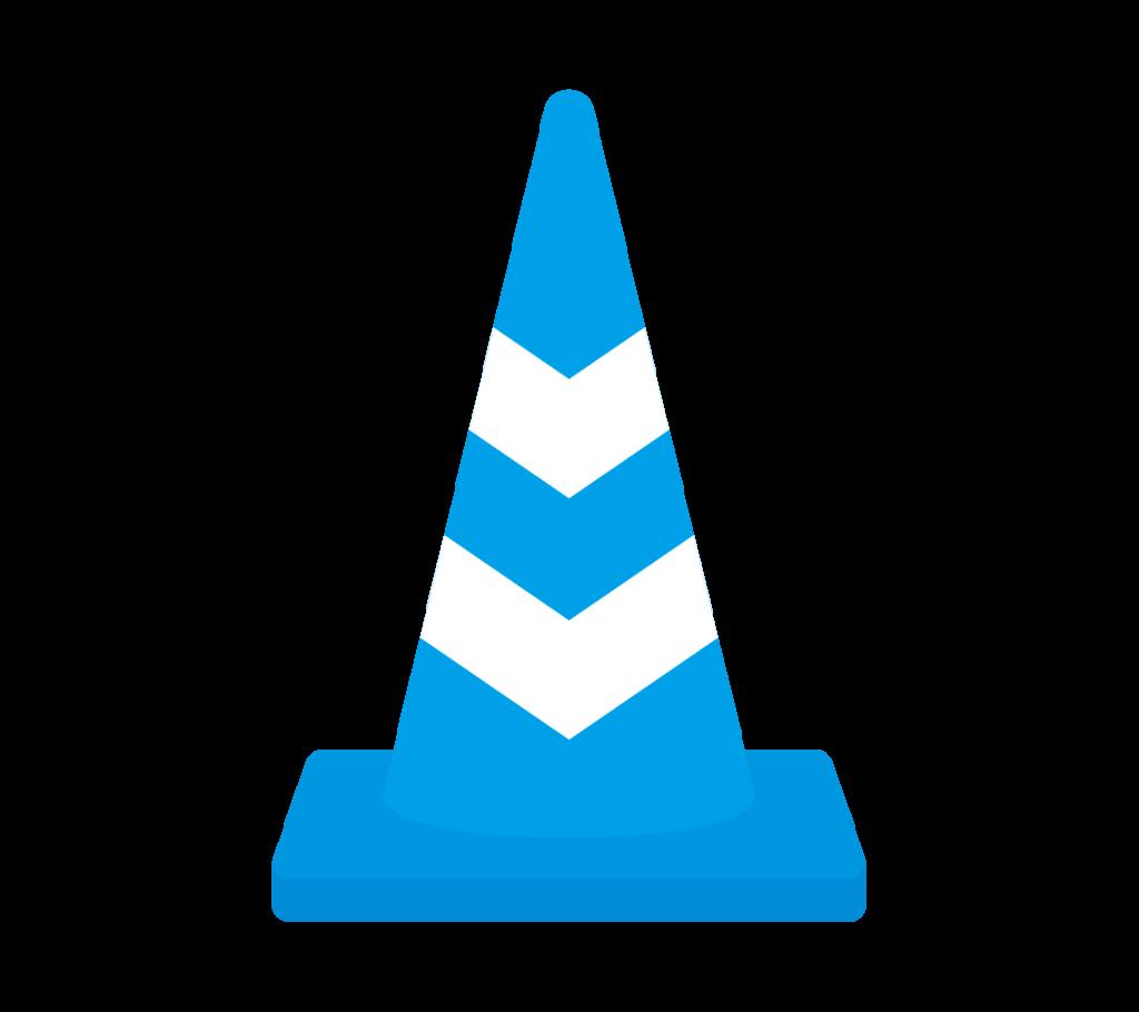 反射テープ付パイロン(青)のイラスト