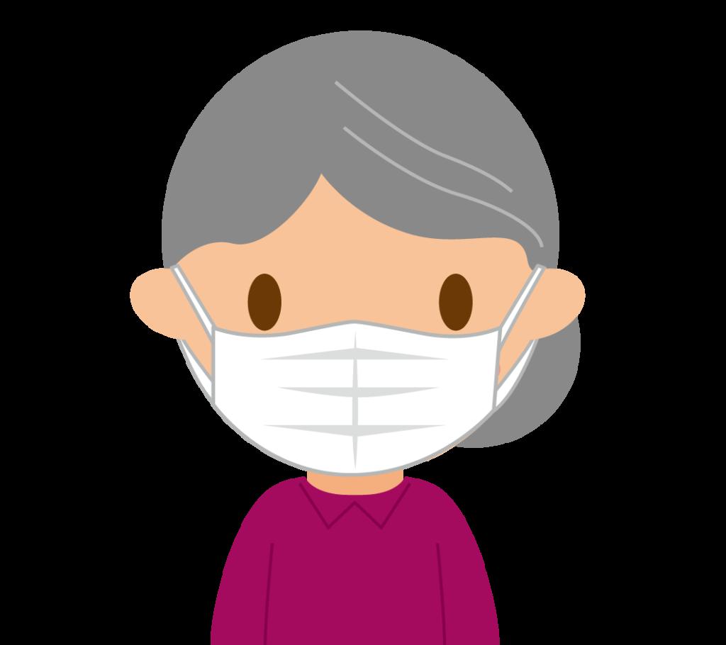マスクするおばあちゃんのイラスト