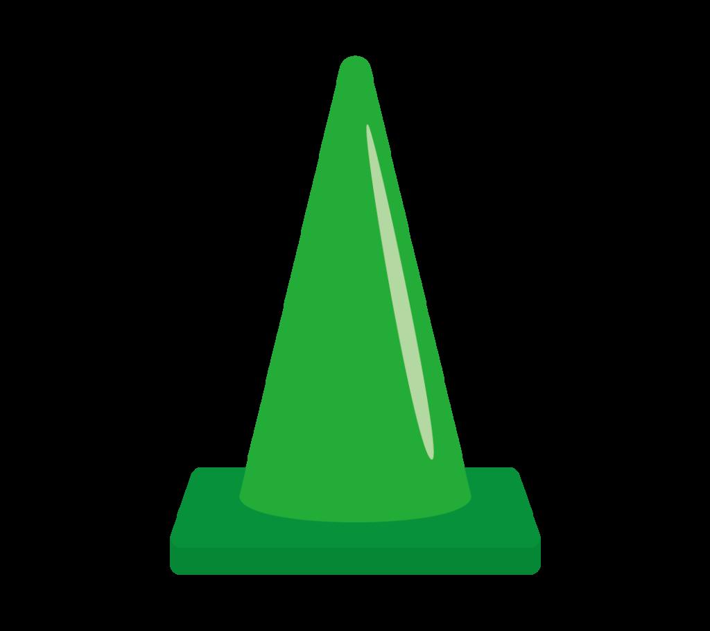 パイロン(緑)のイラスト