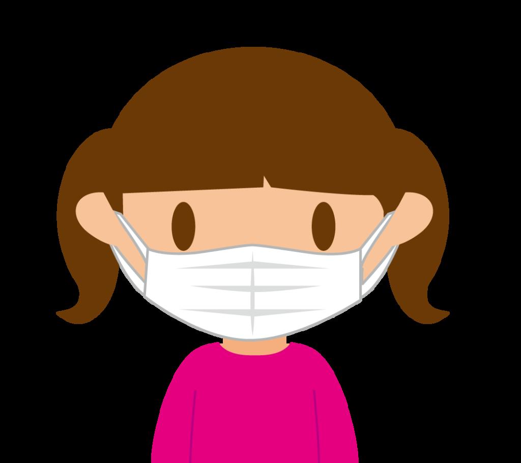 マスクする女の子のイラスト