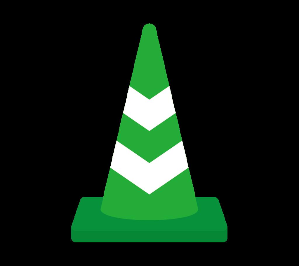 反射テープ付パイロン(緑)のイラスト