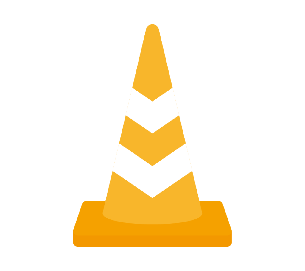 反射テープ付パイロン(オレンジ)のイラスト