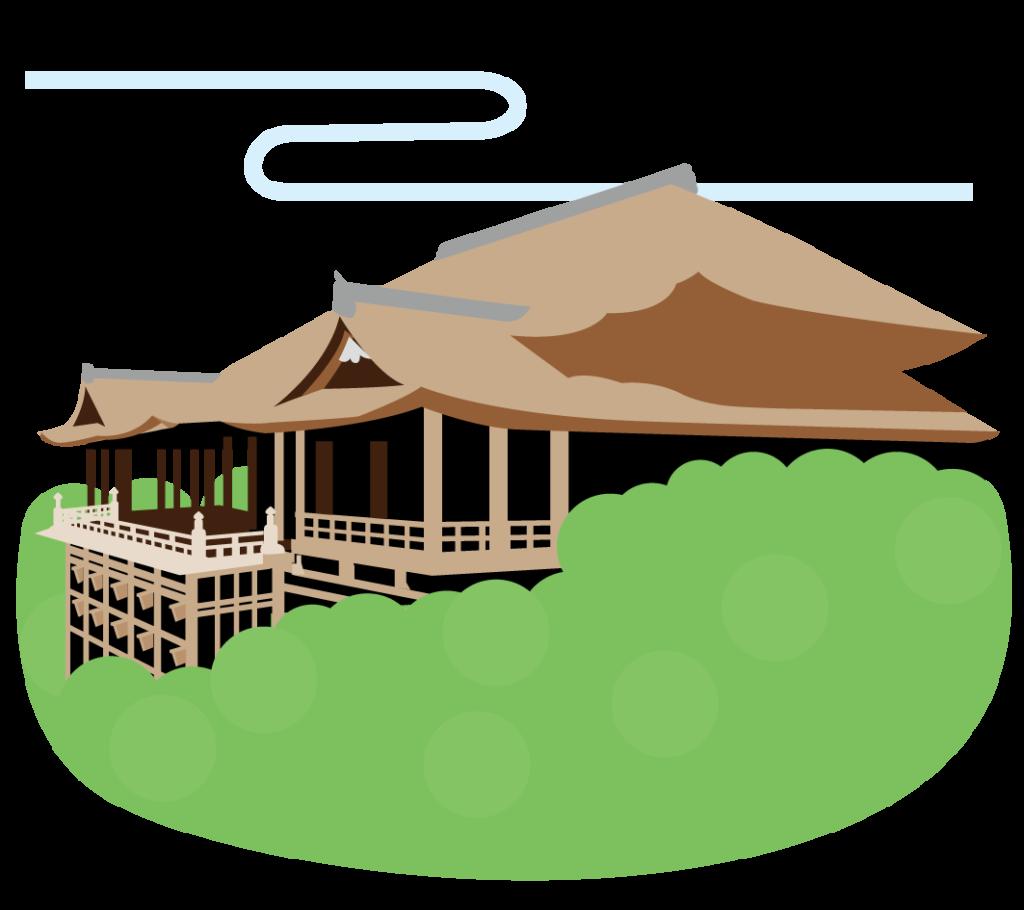 夏の清水寺のイラスト