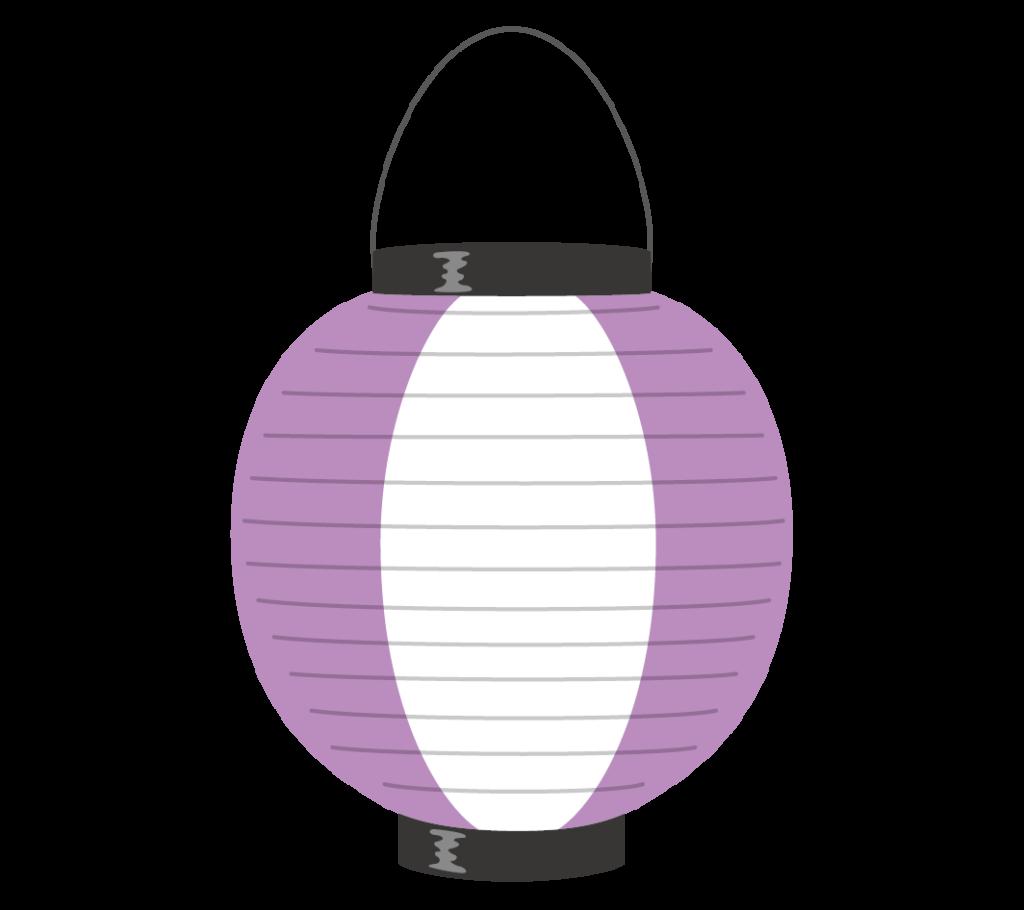紫と白の提灯のイラスト