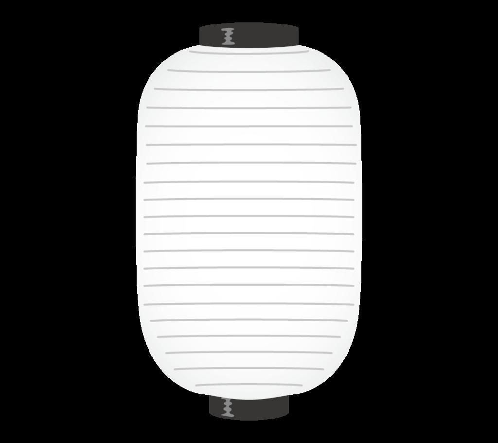 縦長い白色の提灯のイラスト