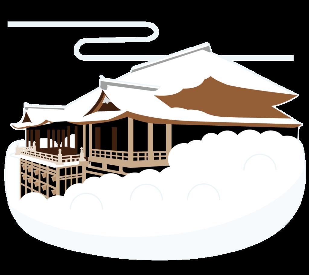 冬の清水寺のイラスト