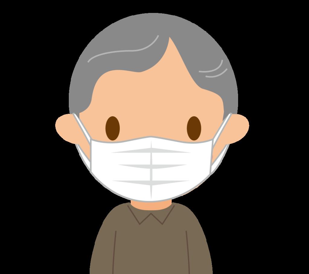マスクするおじいちゃんのイラスト