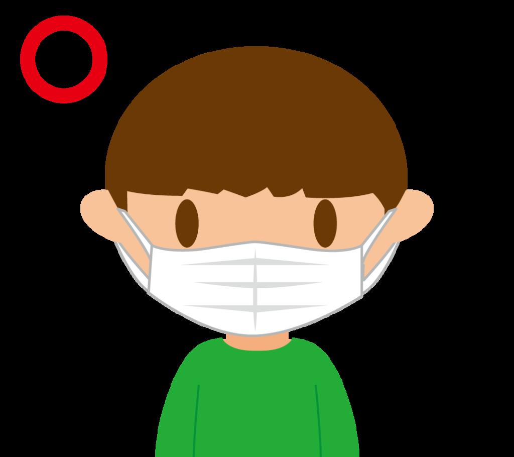 正しくマスクする男の子のイラスト