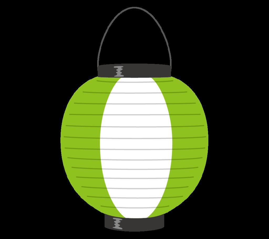 緑と白の提灯のイラスト