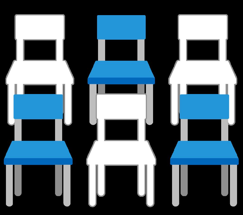 席の間引きのイラスト