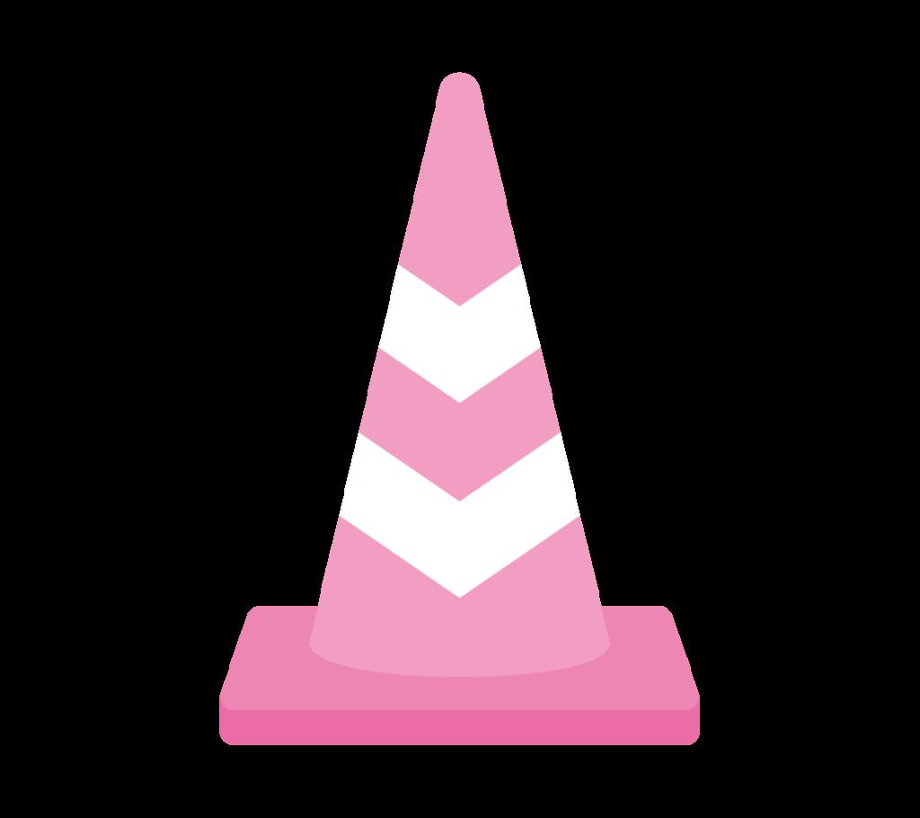 反射テープ付パイロン(ピンク)のイラスト
