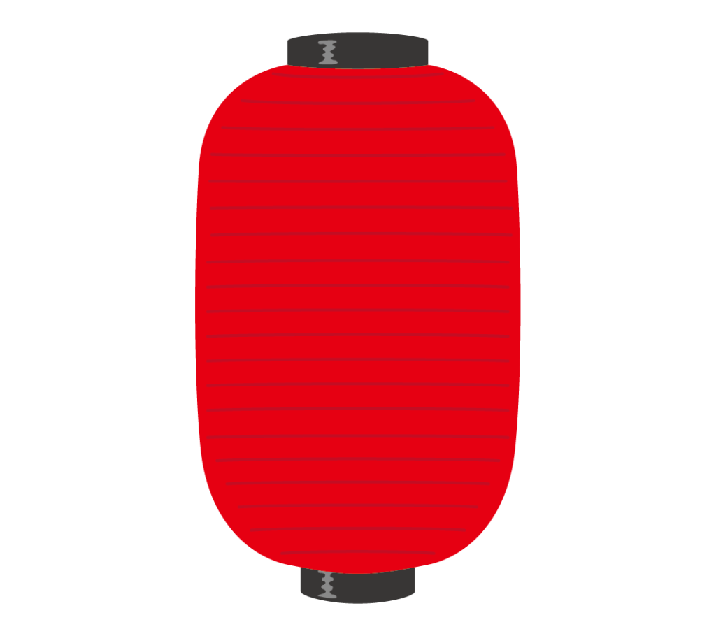 縦長い赤色の提灯のイラスト