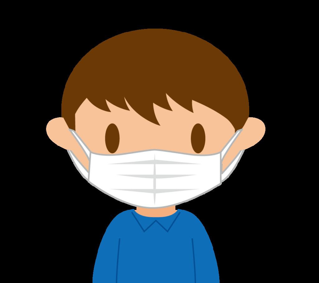 マスクする男性のイラスト