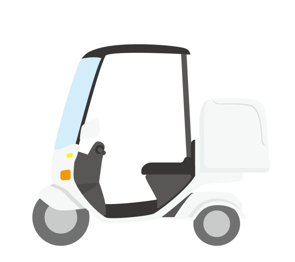 荷台付きスクーターのイラスト