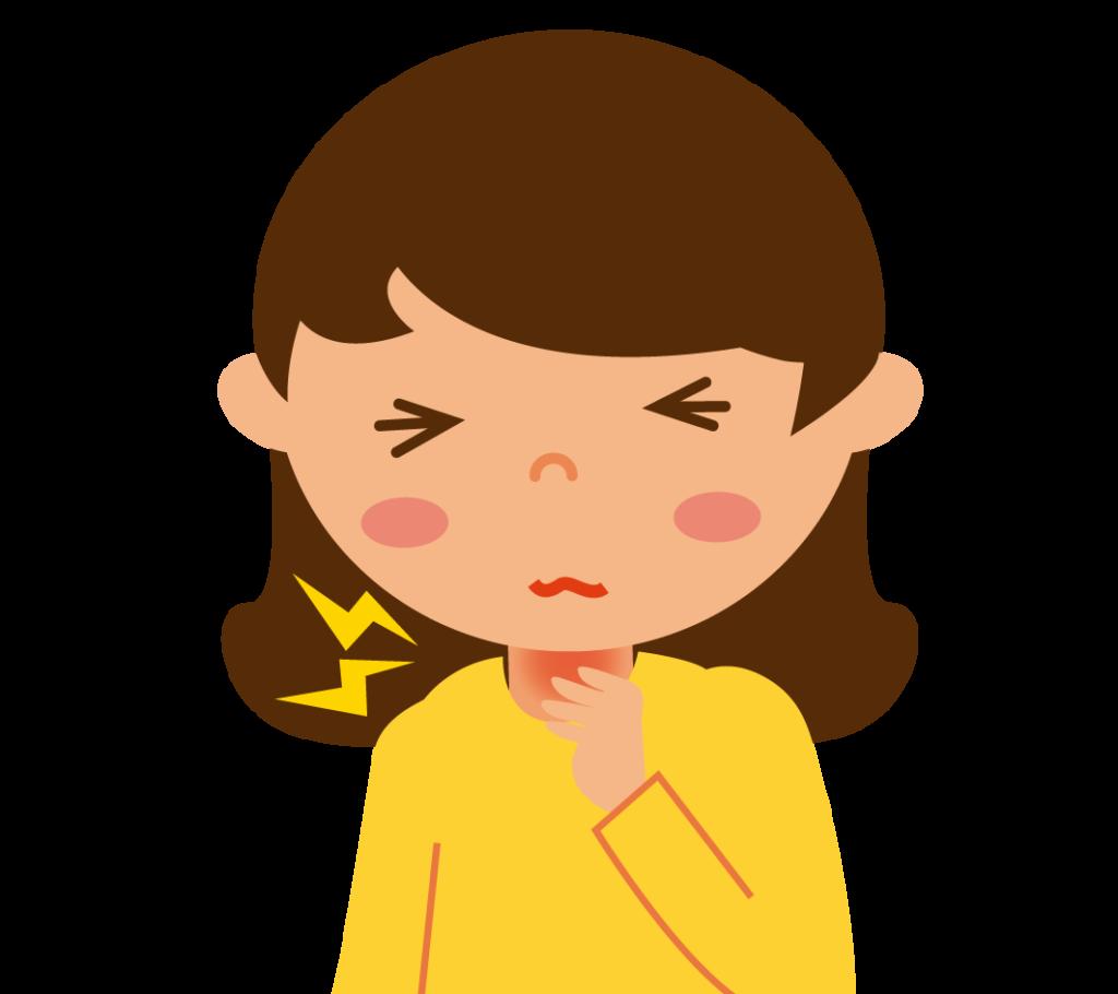 初期症状:喉の痛みのイラスト