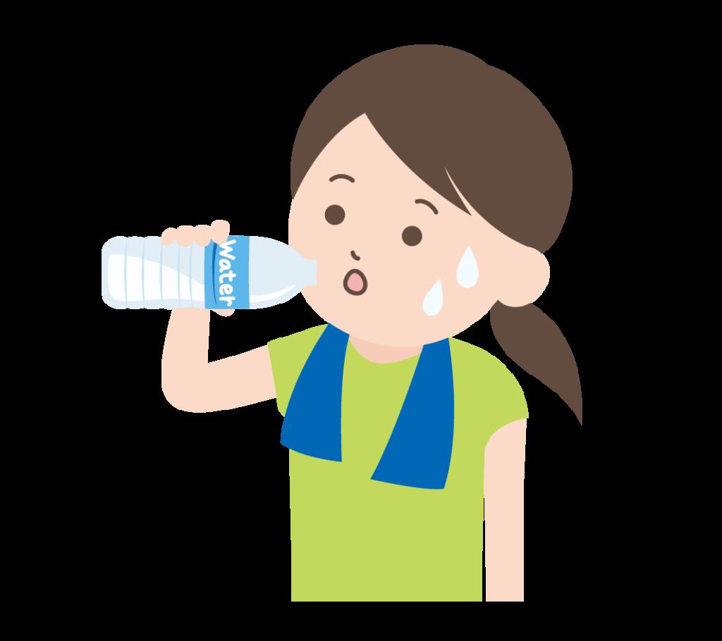 水(ミネラルウォーター)を飲む人のイラスト