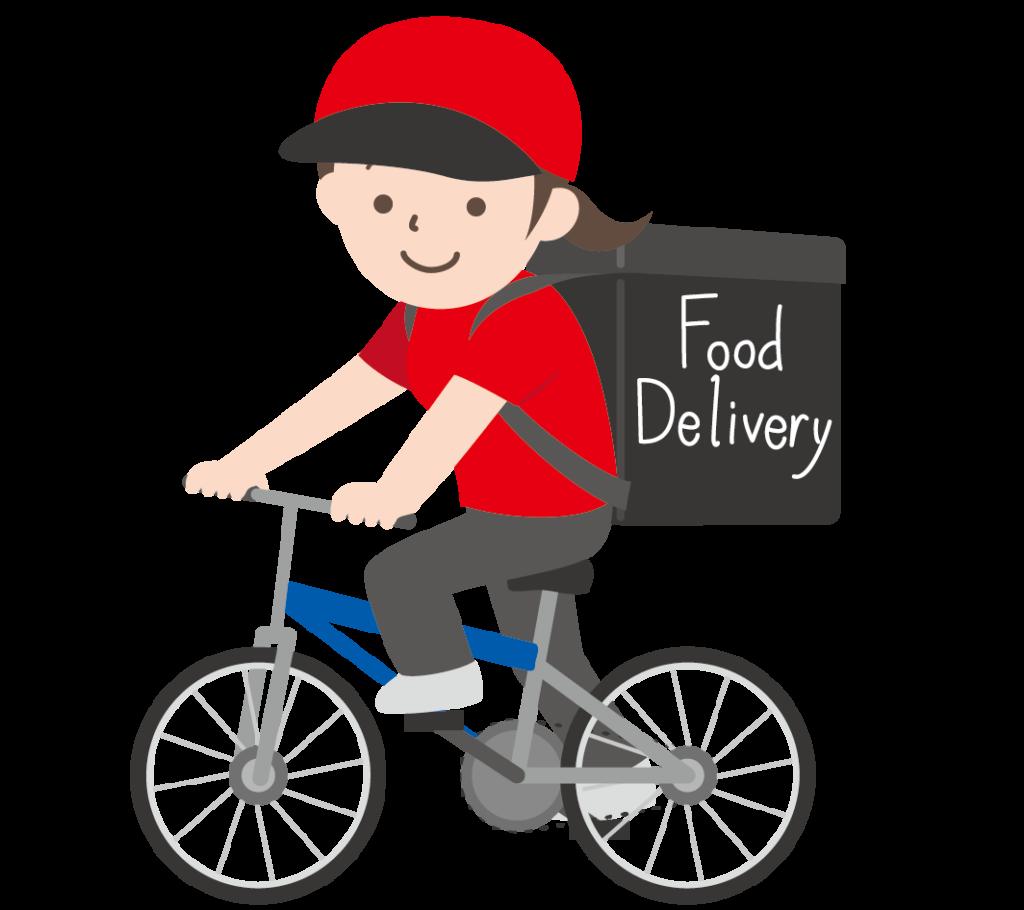 自転車で食べ物を配達する女性のイラスト
