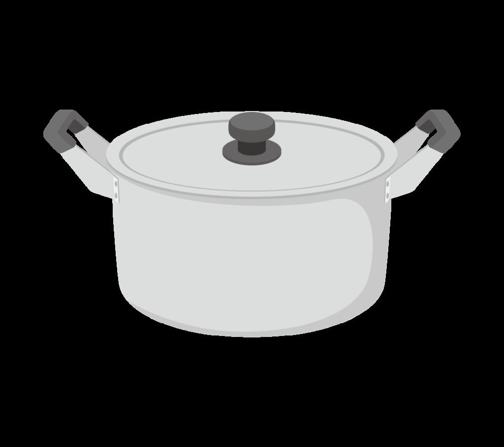 両手鍋(蓋付き)のイラストその2