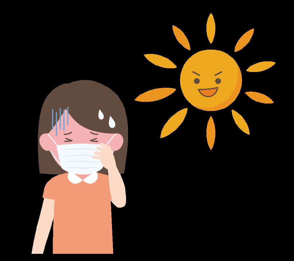 熱中症(マスク装着)のイラスト