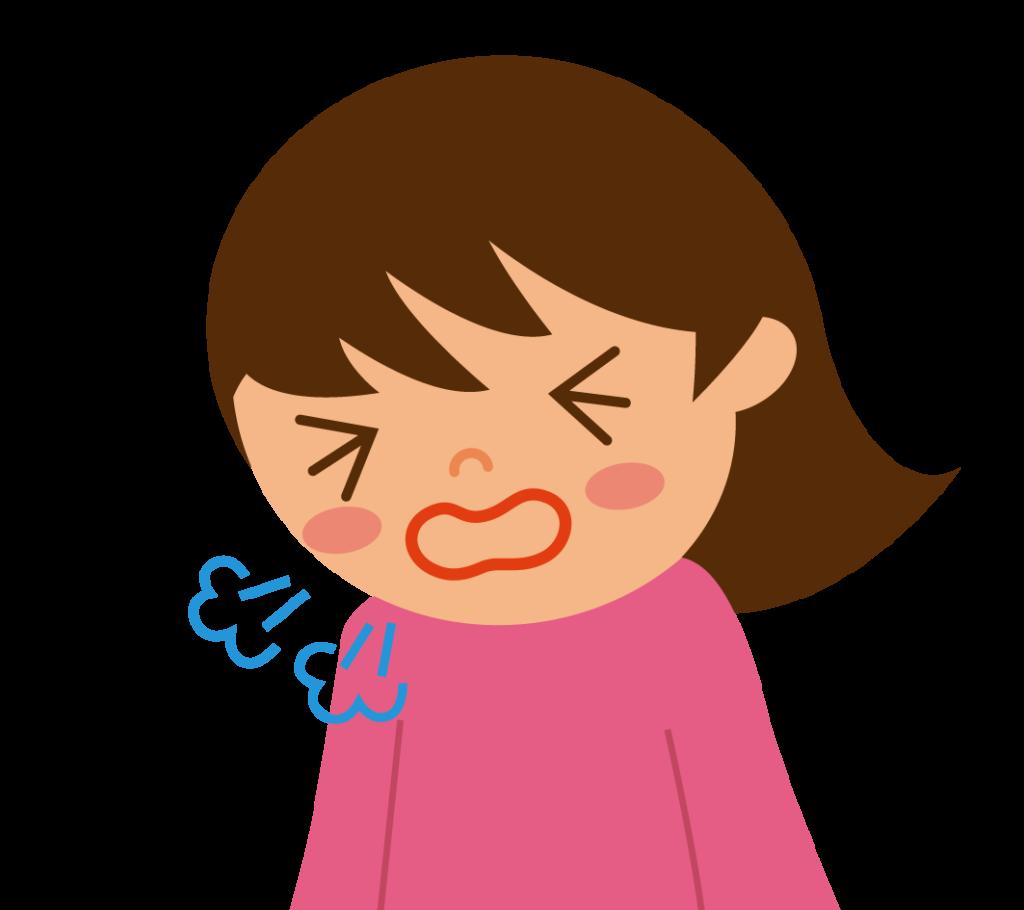 初期症状:乾いた咳のイラスト