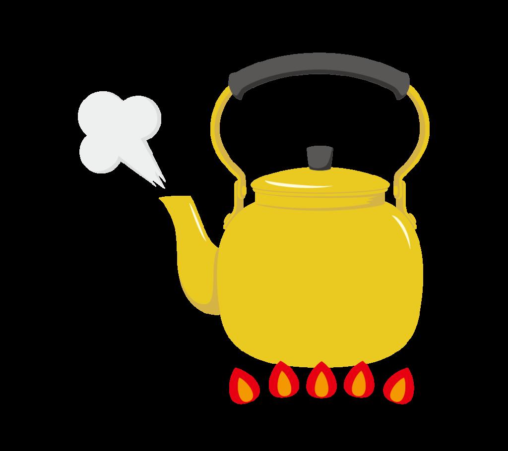 沸騰するやかんのイラスト