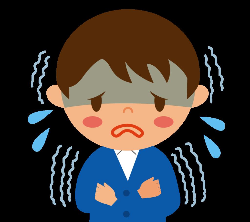 初期症状:悪寒と震えが続くイラスト