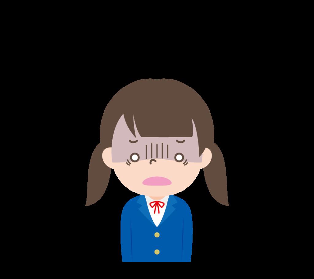 ショックを受けている学生服姿の女の子のイラスト