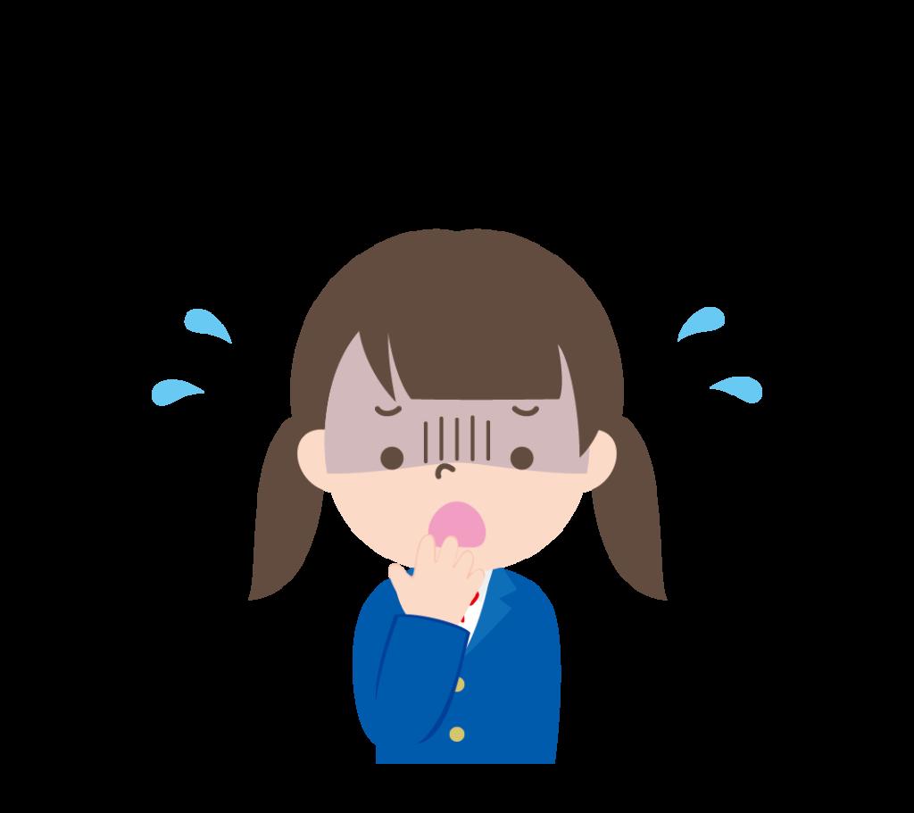 顔を青ざめさせて焦っている学生服姿の女の子のイラスト