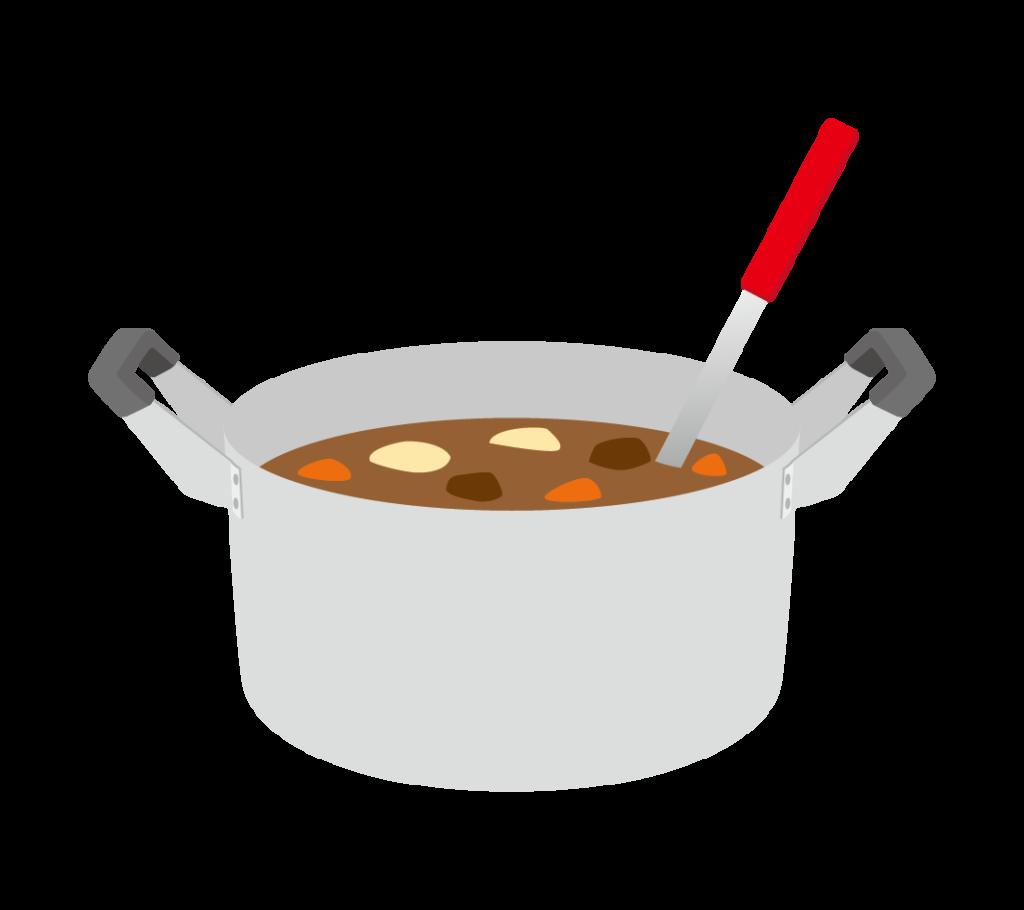 カレーの入った鍋のイラスト