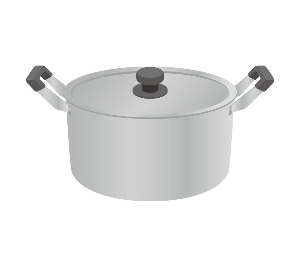 両手鍋(蓋付き)のイラストその1