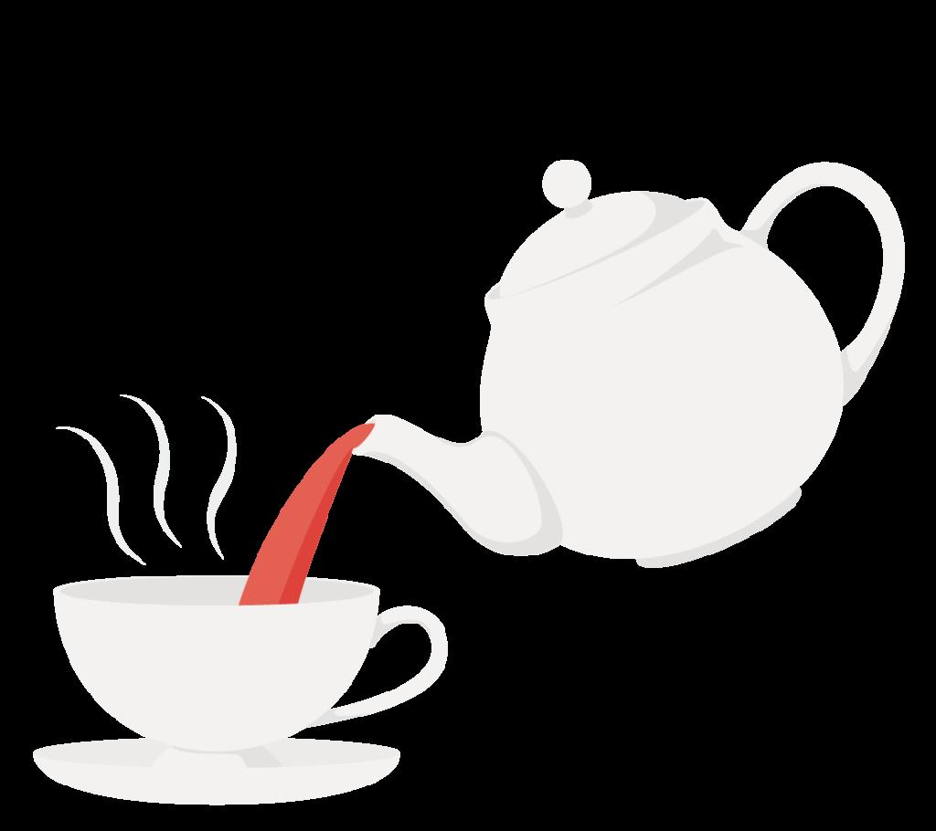 紅茶をカップに注ぐイラスト