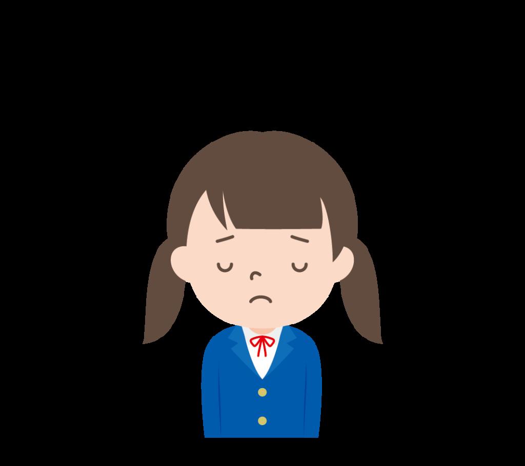 しょんぼりしている学生服姿の女の子のイラスト