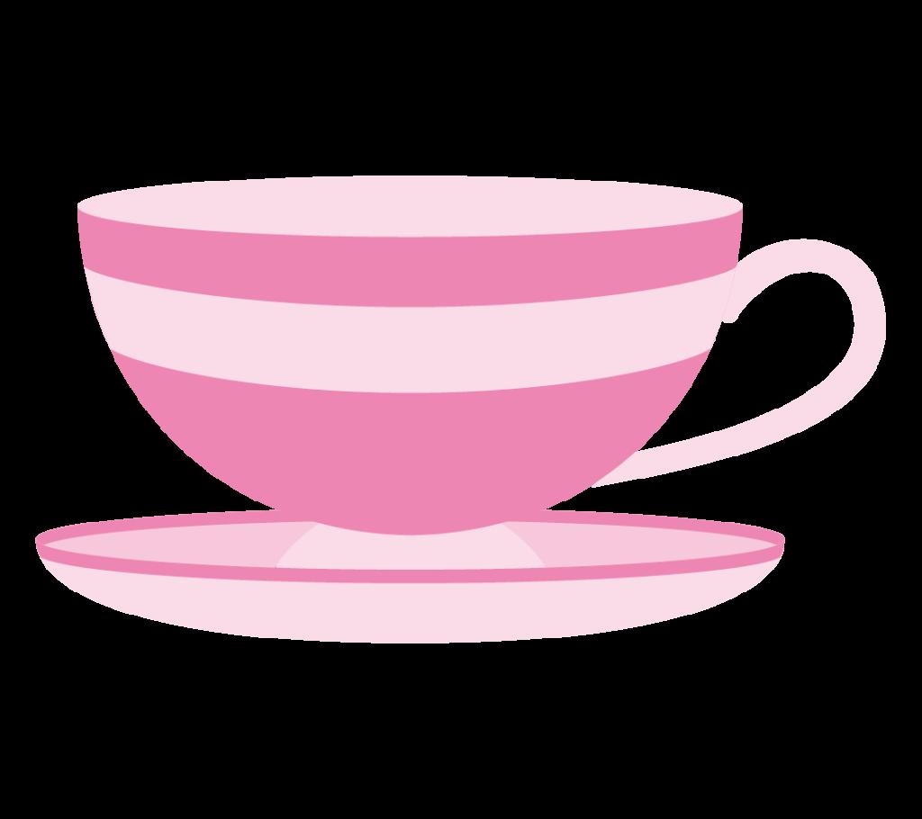 ティーカップ(ピンク)のイラスト