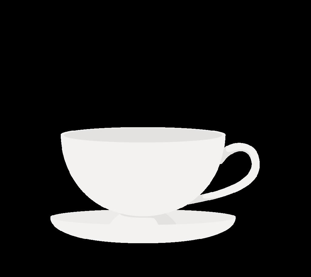 ティーカップ(ホワイト)のイラスト
