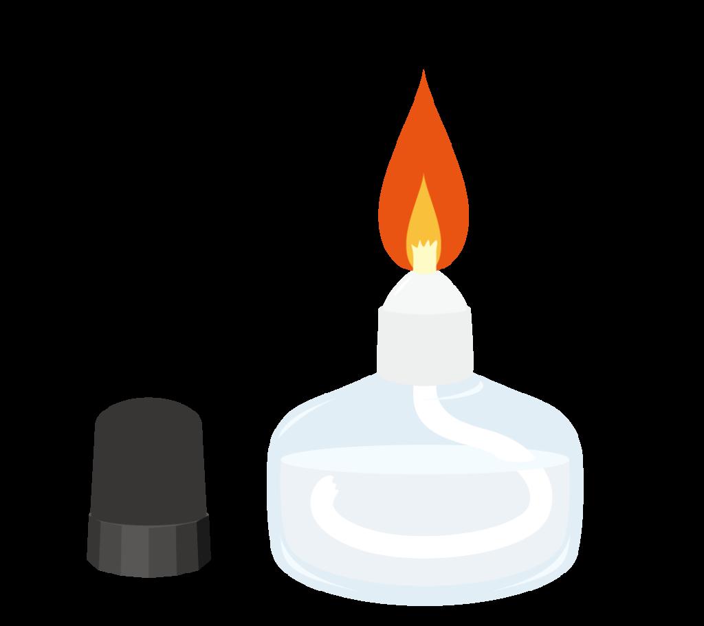 火のついたアルコールランプのイラスト