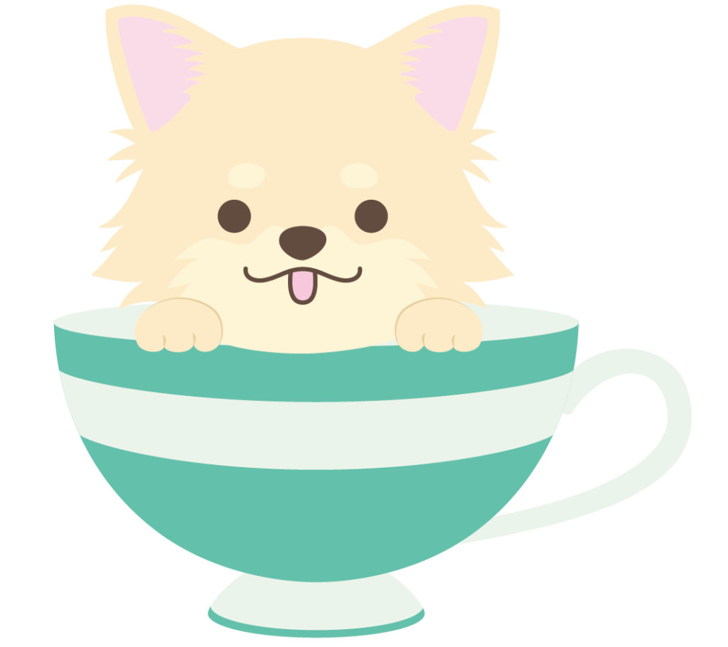 ティーカップに入ったクリーム色のチワワのイラスト